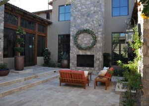 Silver travertine with cobble stone