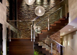 Silver travertine with ledger stone