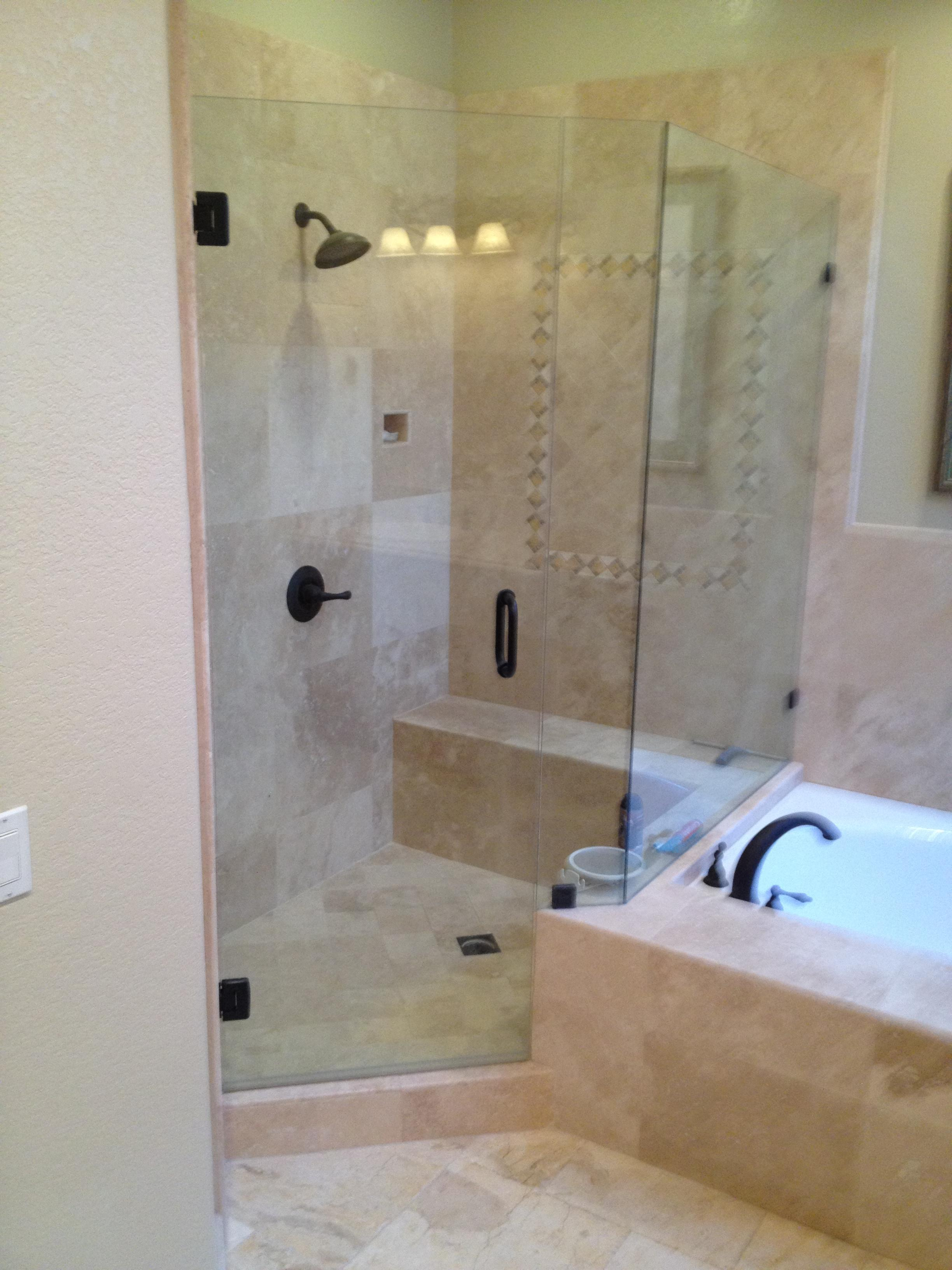 travertine shower glass door
